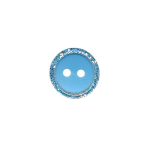 Knoop met glitter rand licht blauw 11 mm (ca. 100 stuks)