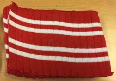 Boord rood-wit gestreept met ribbel ca. 32 cm (6 stuks)