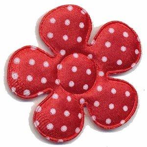 Applicatie bloem rood met witte stippen satijn groot 45 mm (ca. 100 stuks)