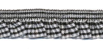 Zwart-wit geruite roezel elastiek 19 mm (ca. 10 meter)