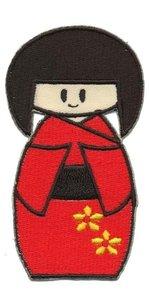 Opstrijkbare applicatie Geisha rood (5 stuks)