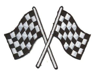Opstrijkbare applicatie finish vlaggen (5 stuks)