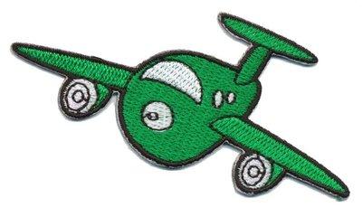 Opstrijkbare applicatie vliegtuig groen (5 stuks)