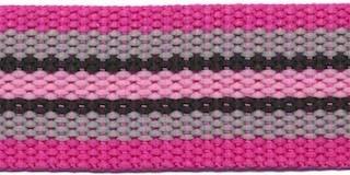 Tassenband 30 mm streep fuchsia/grijs/zwart/roze STEVIG (ca. 5 m)