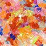 Letter bedels doorzichtig heldere kleuren mix ca. 11 mm (ca. 450 stuks)