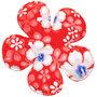 Applicatie bloem rood zomerse print EXTRA GROOT 65 mm (ca. 25 stuks)