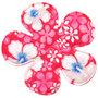 Applicatie bloem roze zomerse print EXTRA GROOT 65 mm (ca. 25 stuks)