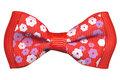 Strikje-grosgrain-rood-met-bloemenprintje-45x25-mm-(10-stuks)