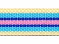 Tassenband 30 mm streep zacht geel/lichtblauw/kobalt blauw/roze (ca. 5 m)