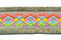 Grijsgroen franjeband Ibiza stijl met franjes aan beide zijden 45 mm (ca. 5 m)